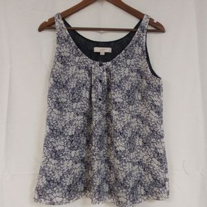 Ann Taylor LOFT size M blue and white tank top